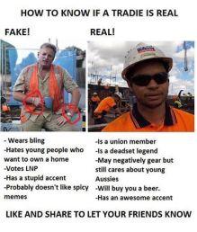 fake tradie real tradie