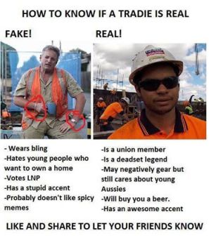 fake tradie real tradie