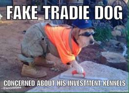 tradie dog with words